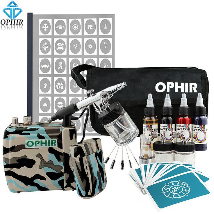 OPHIR Pro 0.3mm Camuflaje Batería Kit de Tatuaje Temporal Del Aerógrafo Aerosol de Pintura de Arte Corporal con A4 Plantillas Plantilla Booklet conjunto en Pintura Corporal de Salud y Belleza en AliExpress.com | Alibaba Group