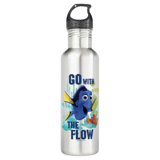 Dory & Nemo | Go with the Flow Watercolor Graphic. Regalos, Gifts. #bottle #botella