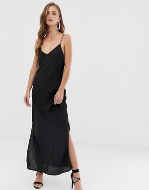 2cc1301cebf Атласное платье-комбинация миди на бретельках ASOS DESIGN