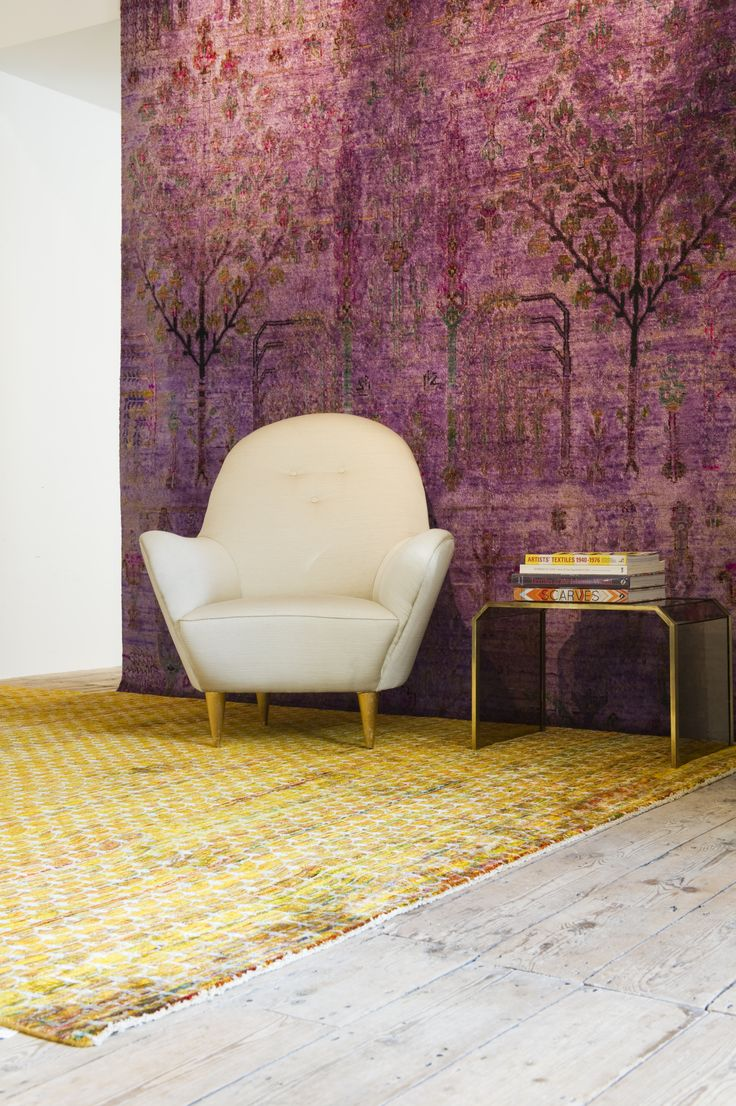 Saffron Sari Silk rug looking vibrant along with our Purple Arcadia 100% silk rug. The rugs are from our Sari silk and Babylon collections.
