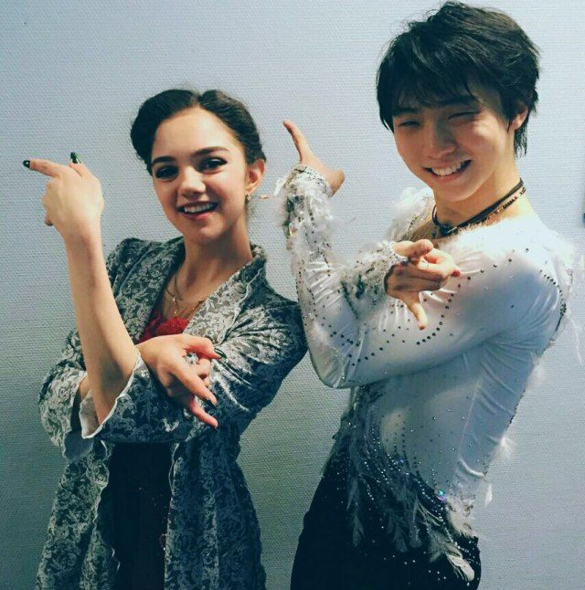 Yuzuru and Evgenia doing Sailor Moon pose