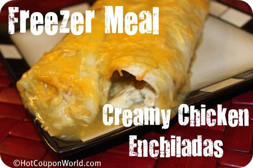 Freezer Meal: Creamy Chicken Enchiladas (Freezer Cooking/Once A Month Cooking/OAMC): Enchiladas Freezers, Meals Recipes, Freezer Meals, Creamy Chicken Enchiladas, Enchiladas Recipes, Freezers Meals, Freezers Cooking Once, Months Cooking Oamc, Freezers Food