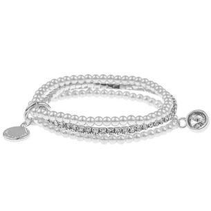 SNÖ Of Sweden - Doris Elastic 3-String Bracelet White M/L - 597-3584010