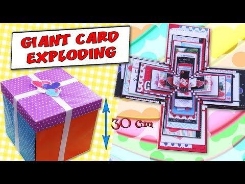 GIANT EXPLODING BOXES CARD -  GIFT IDEA - LOVE CARD | aPasos Crafts DIY - YouTube
