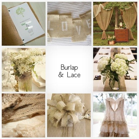 Burlap Ideas For Wedding: Burlap And Lace; Very Close To What I'm Thinking With The