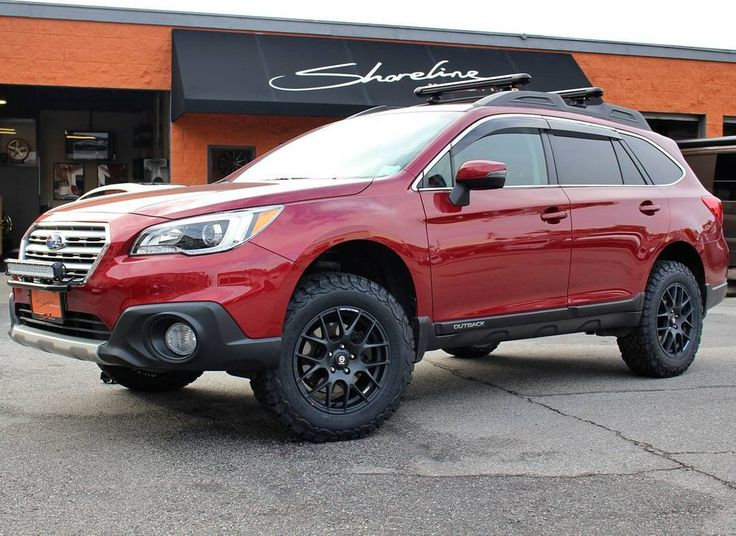 "Brand: Subaru Model: OutbackYear: 2017Couleur: Red  Modifications:   Lift kit: 2"" LP AventureTires: 245/65R17 BFGoodrich All Terrain T/A KO2  Wheels: Sparco Procorsa  Ski mounts: Yakima Fatcat 6  LED Light bar: 20"""