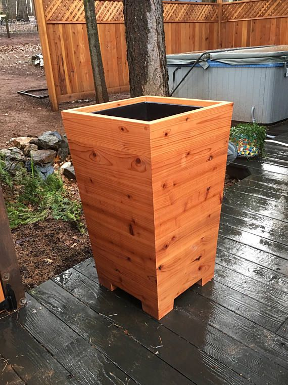 Extra Tall Tapered Redwood Planter Boxes Free Shipping Three Sizes Med Century Modern Cafe Planter Box Privacy Screen Available Redwood Planter Boxes Planter Boxes Redwood Planter