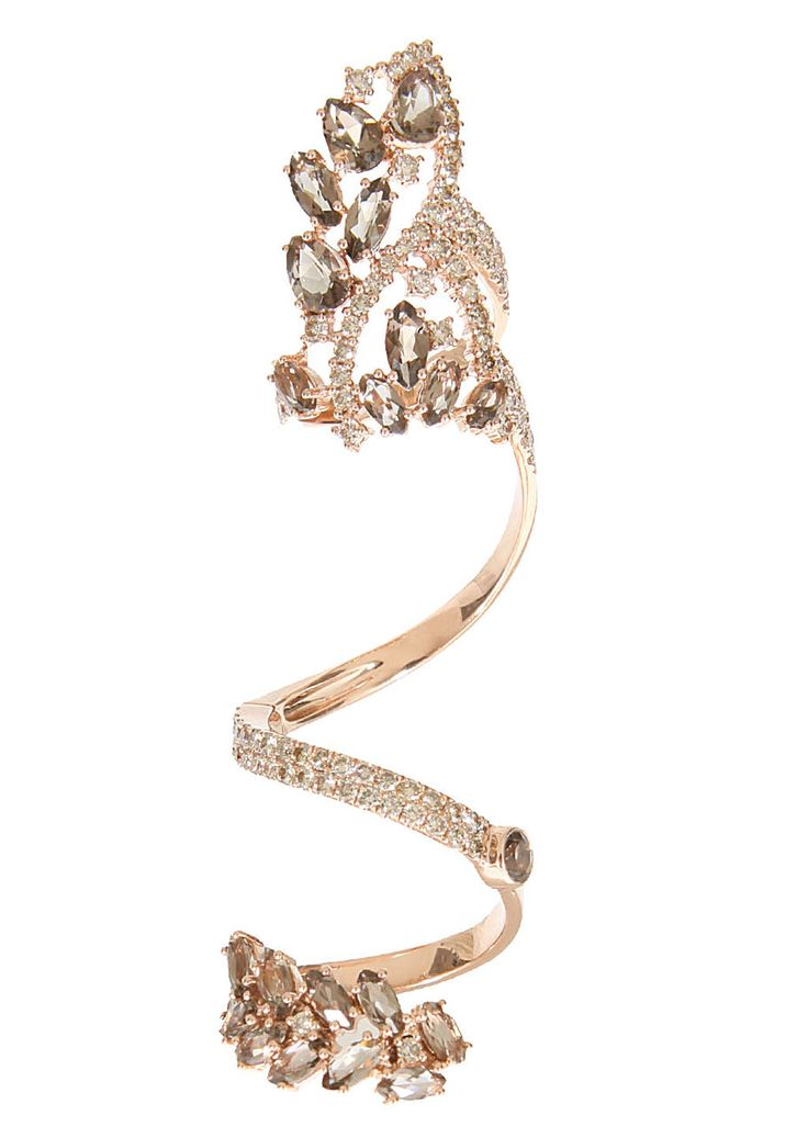 Elise Dray Pink Gold Brown Diamonds and Smoky Quartz Articulated Jaïpur Ring in Pink.♥..¸¸.•♥•