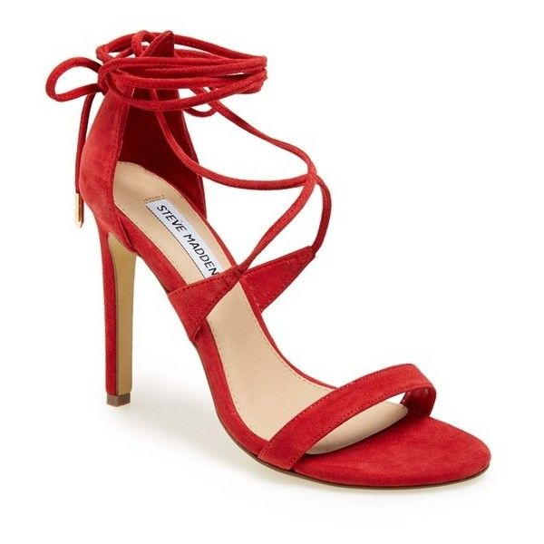 "Steve Madden 'Presidnt' Lace-Up Sandal, 4"" heel (1,530 MXN) ❤ liked on Polyvore featuring shoes, sandals, heels, red, sapatos, red suede, strap sandals, lace-up heel sandals, high heels stilettos and strappy heel sandals"