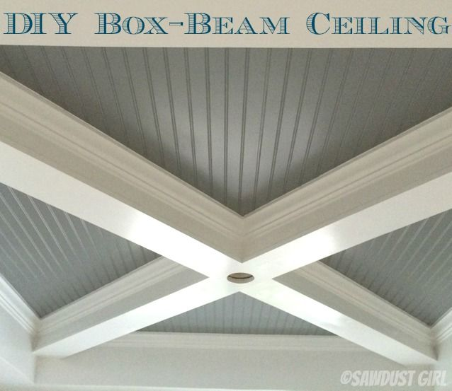 Check out the DIY steps for this dynamite beadboard ceiling with box-beam trim from SawDustGirl.com
