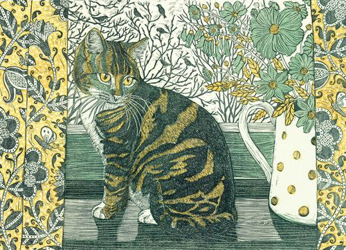 'Tabitha On The Windowsill' By Printmaker Vanessa Lubach. Blank Art Cards By Green Pebble. www.greenpebble.co.uk