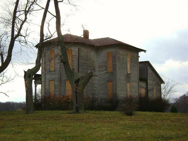 Abandoned farmhouse on Route 726 in the ghost town of Oklahoma, Ohio. Oklahoma is not even listed on most lists of Ohio ghost towns, but it did exist near Eaton, Ohio in Preble County.