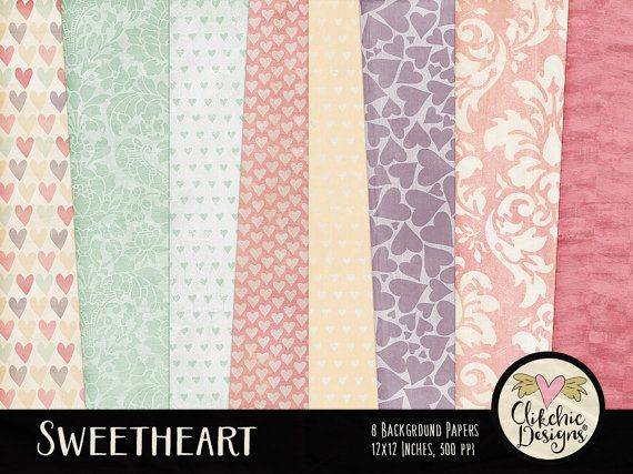 Romantic Digital Paper Pack  Sweet Love Heart by ClikchicDesign
