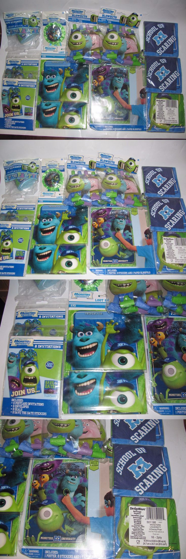Party Decorations 170103: Lot Disney Pixar Monsters Inc University Party Supplies Invitations Decor Bags -> BUY IT NOW ONLY: $59.98 on eBay!