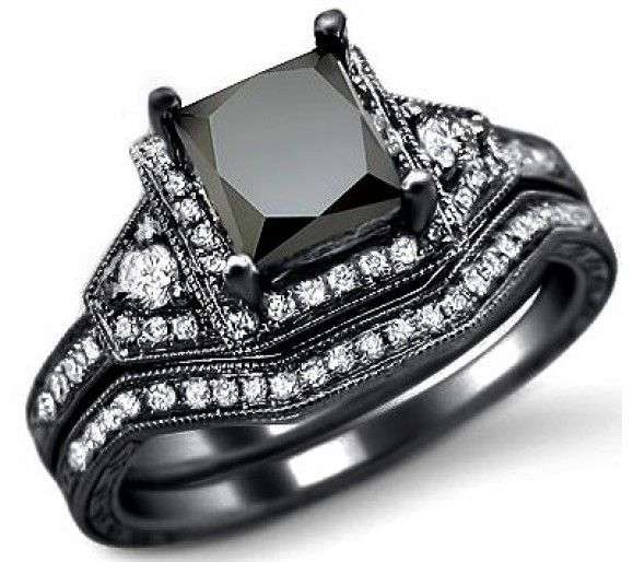 Everyone is just pinning a picture. Here is the actual site where you can order the ring. Also available on Amazon! This will be my second wedding ring! :) 2.0ct Black Princess Cut Diamond Engagement Ring Bridal Set 14k Black Gold.. I want later on! So pretty! Bad ass!