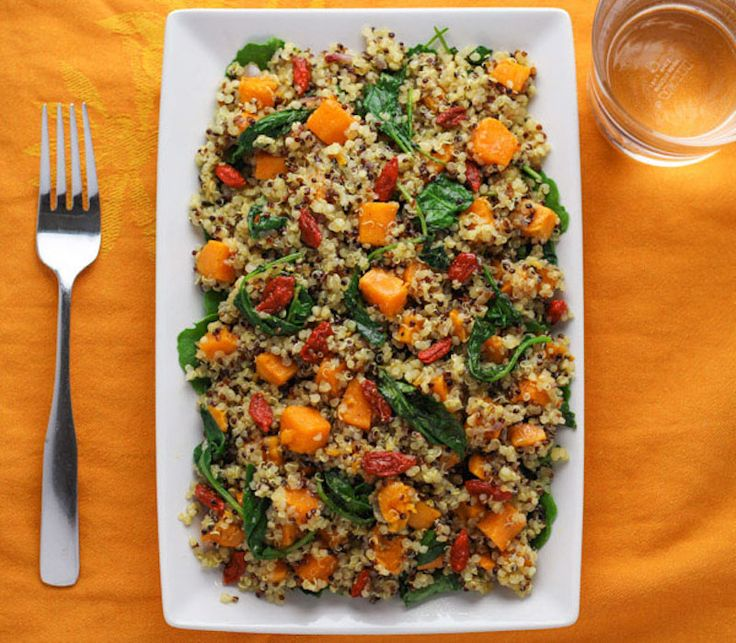 This Warm Quinoa Sweet Potato Kale Salad with Goji Berries comes together in about 30 minutes and is so hearty and healthy!