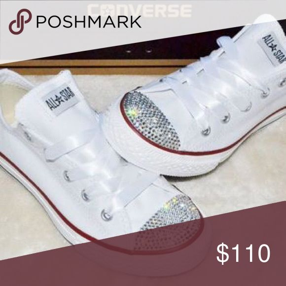 Swarovski converse bling shoes Let me know what size! I'll order in the shoes, bling them , and hand detail Swarovski Crystal for you! Converse Shoes Athletic Shoes