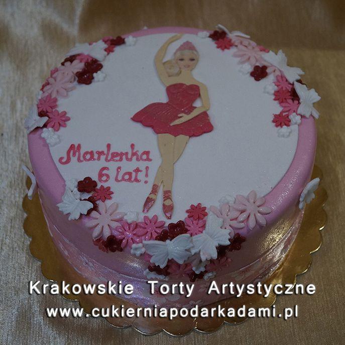 105. Tort z kwiatuszkami dla małej baletnicy. Cake with flowers for little ballerina.