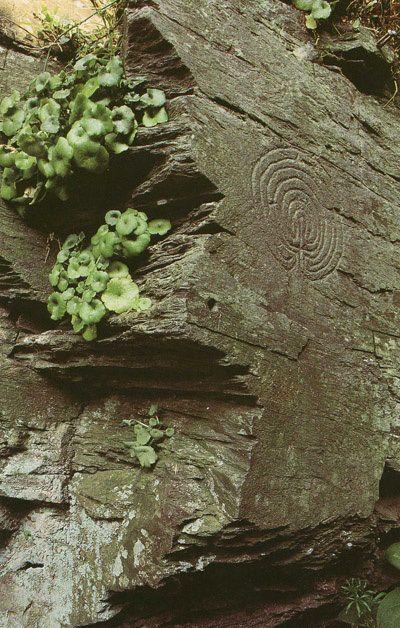 tintagel labyrinth, cornwall, england.