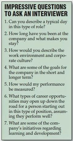 Interviews are an opportunity for you to learn if the company is right for you. Great questions to ask.