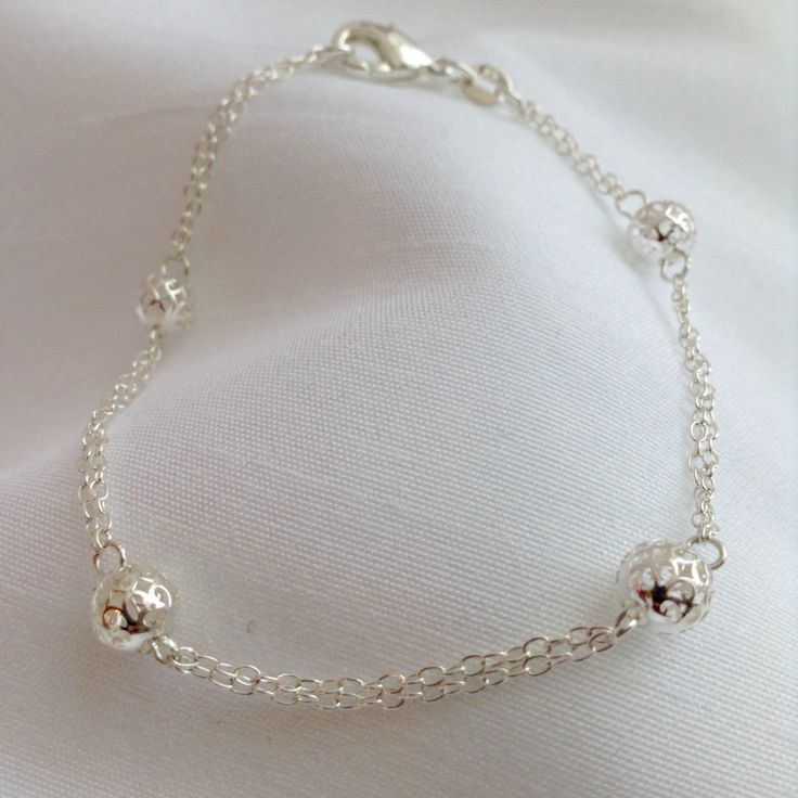 925 Sterling Silver Double Strand Modern Filigree Ball Bracelet by BecauseIamHappy on Etsy