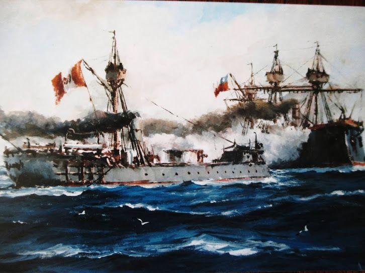 """Combate de Angamos. Captura del """"Huáscar"""". Guerra del Pacífico. 8 de octubre de 1879. Acuarela de Eduardo Henríquez Ojeda, 2015."""