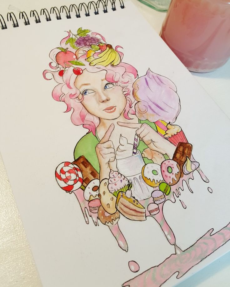 Candy girl  She was one of my best friend 💜 #candy #candybar #girl #watercolor #ginkart #GinKa #rainbowhair #cake #chocolate #muffin #cottoncandy #cherry #banana #art🎨