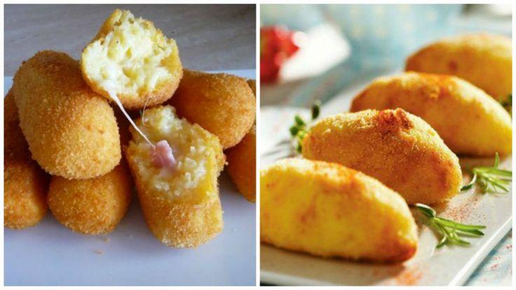 Croquetas de papa, jamón y queso