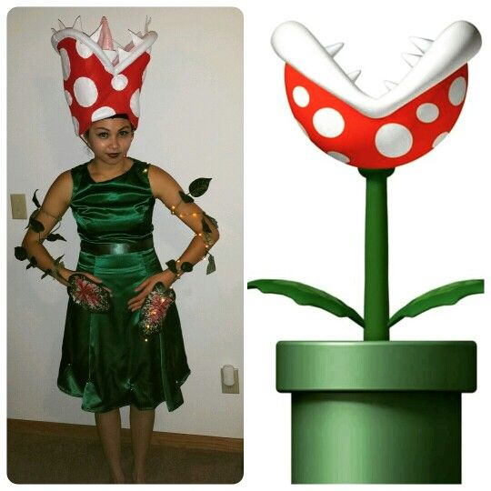 Venus Flytrap from Super Mario Nintendo. Pirahna plant in tube or pipe. Halloween costume Cosplay DIY