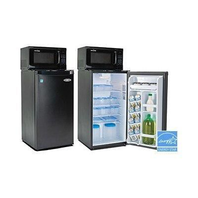 Black Microwave and 3.3 cu. ft. Mini Refrigerator Combo with Beverage Dispenser and Automatic Defrost with One Wall Plug