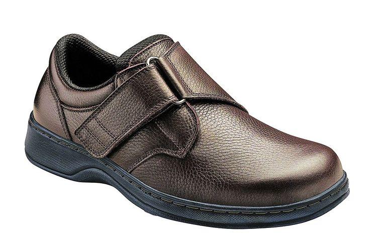 Orthofeet Broadway Arthritis Orthopedic Diabetic Wide Mens Velcro Shoes Brown Leather 8.5 XW US