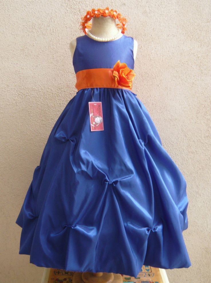 Flower Girl Dress Blue Orange Burnt Po1 Wedding By