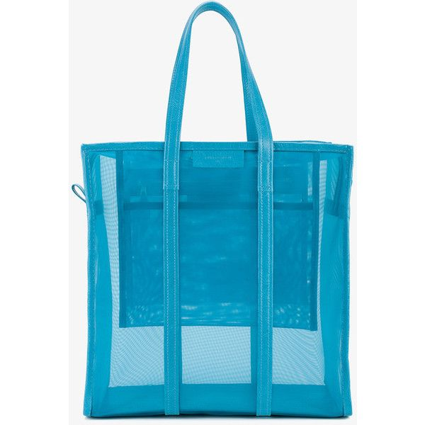 Balenciaga bazar see-through tote bag ($925) ❤ liked on Polyvore featuring bags, handbags, tote bags, blue totes, tote purses, zip tote bag, tote handbags and purse tote