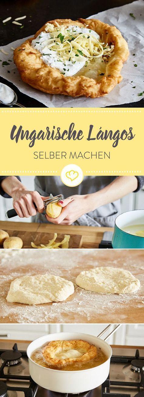 Lángos sind traditionelle Fladenbrote aus Ungarn. Entdecke das Originalrezept der knusprigen Hefeteigfladen mit Sauerrahm und Käse.