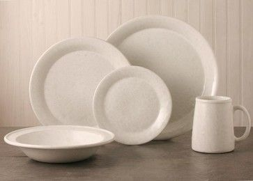 Classic Dinnerware 5-Piece Place Setting, White on White - traditional - dinnerware sets - Bennington Potters