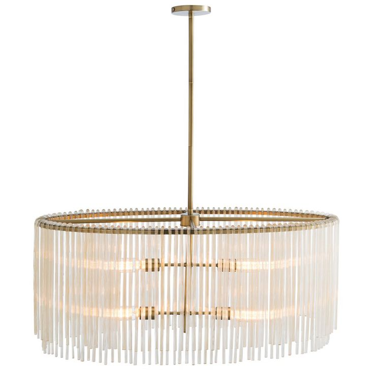"The Arteriors Royalton chandelier offers captivating glamour to living rooms, entryways, and foyers. Suspended from an antique brass-finished steel ring, this hanging accent's uneven ribbed amber glass rods deliver transitional allure. 34""W x 14""D x 19""H to 49""H (adjustable). Canopy: 5.75"" Diameter x 1.5""H. Includes one 6""L pipe and two 12""L rods. Cord: 10""L. Accepts four 60-watt type A19 incandescent bulbs (not included). Antique Brass-finishe..."
