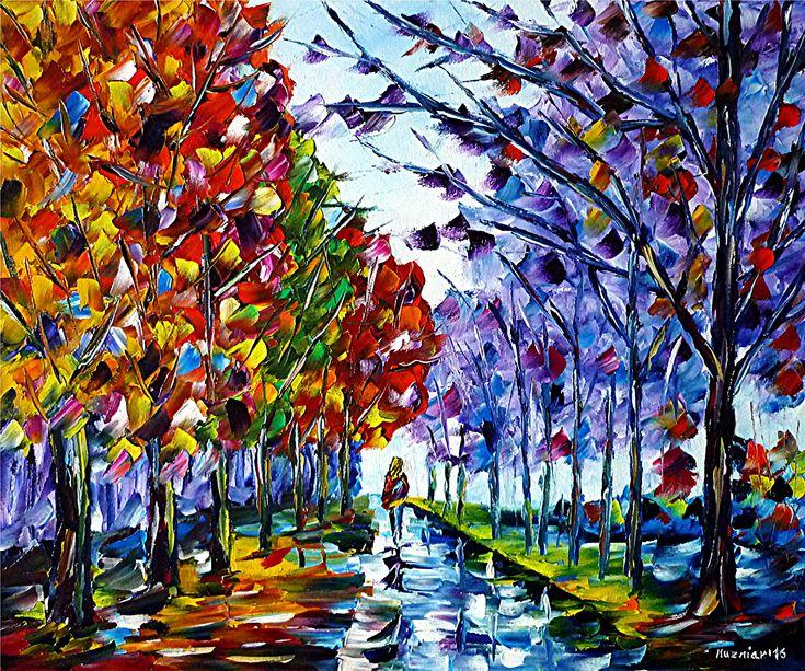 Frau im Herbst, Öl auf Leinwand #spachteltechnik #ölmalerei #impressionismus #landschaft #spaziere