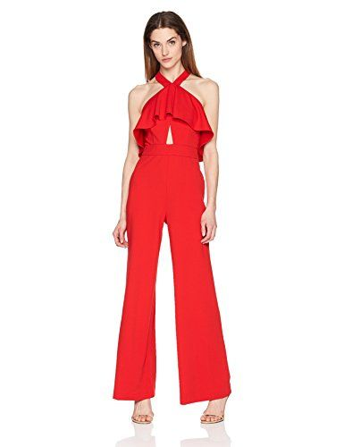 8b143f8bbe4 Womens crepe ruffle front halter neck jumpsuit with lace back new jpg  385x500 Ruffle halter jumpsuit