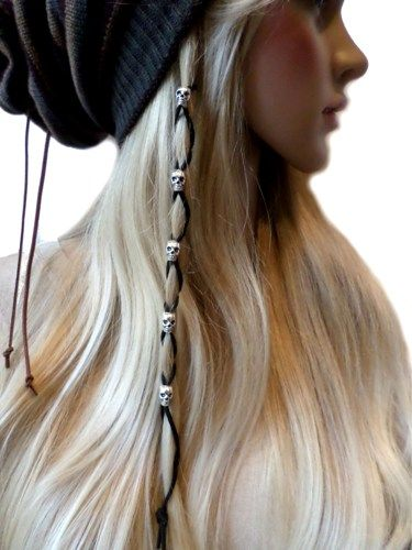 Silver Skull Beads Black Leather Hair Ties Wraps Hair