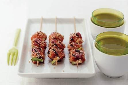Japanse kipspiesjes met sesamzaad