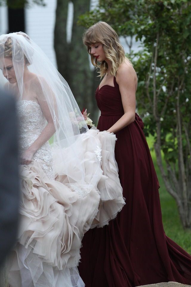 Taylor Swift as a bridesmaid at Abigail's wedding in Martha's Vineyard, MA on September 2, 2017