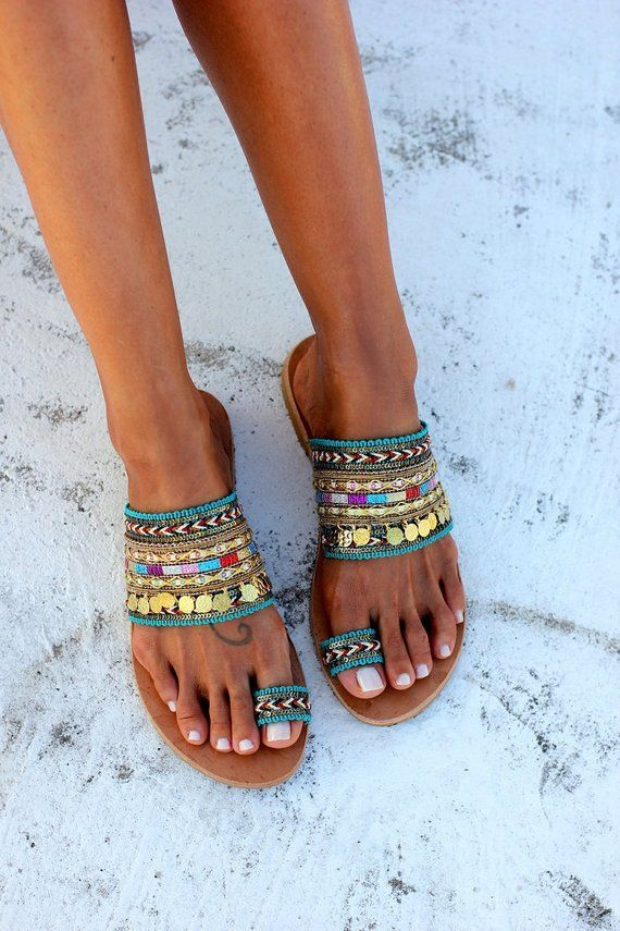 Fashion Handmade Women Sandals Open Toe Tassel Flat Holiday Sandals With Beading