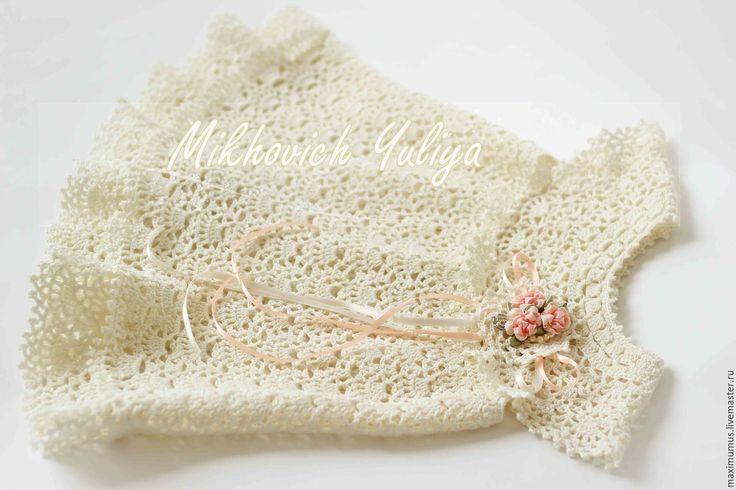"""Купить Крестильный набор """"Кружевное облачко"""" (шампань) - золотой, крестильное, платье для крещения, крестильная рубашка"""