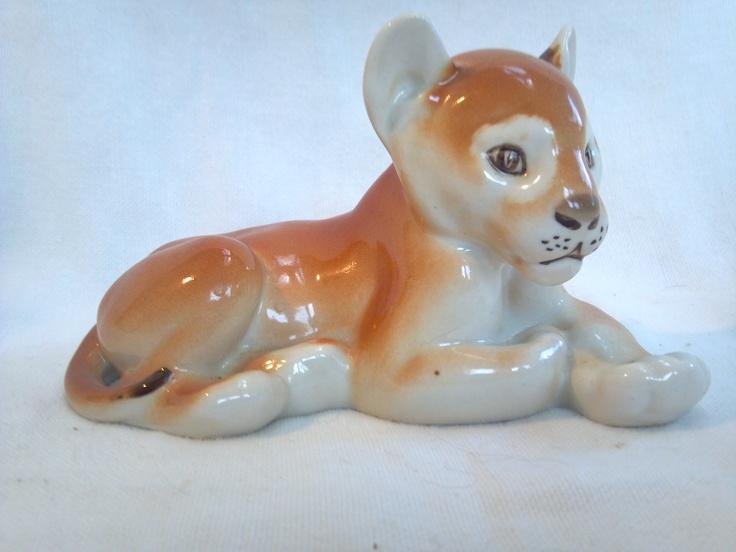 Lion Cub Lying Down (3 x 5 1/4) $29     Lomonosov Porcelain