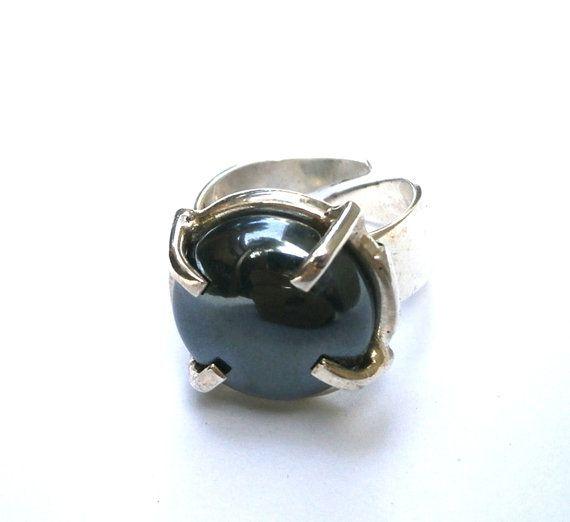 Sterling Silver Adjustable Ring Hematite by JewelryByKonstantis
