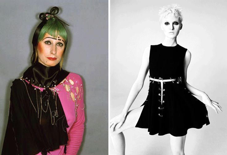 Zandra Rhodes wearing herself punk style VS Gianni Versace Punk Pin short slashed dress  the whole story @ http://www.pasqualetarantinopiscitelli.com/punk-safe-pin/