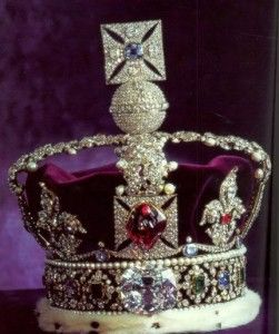England's Crown Jewels - Kept in the Tower of London, the Imperial State Crown is adorned by the Cullinan II and the Black Prince Ruby (which happens to be a spinel