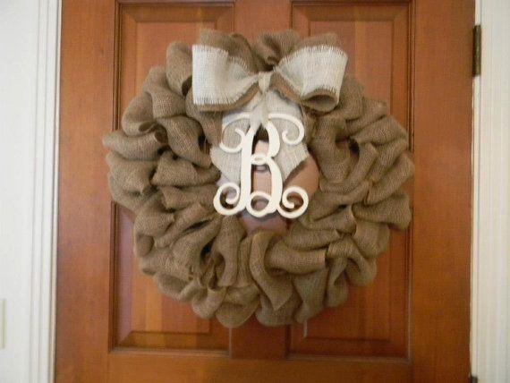 Hat Creek Designs: Burlap Wreath with Monogram Wood Letter