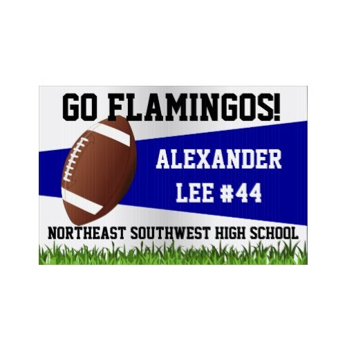 Blue Football Yard Sign, Custom Name/School
