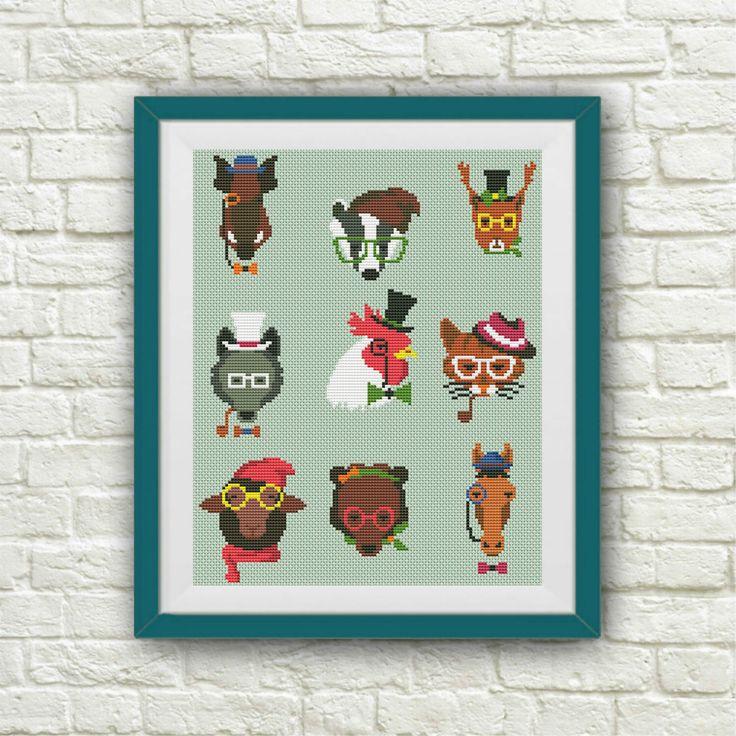BOGO FREE! Hipster Animal Cross Stitch Pattern Cute